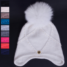 Hot! 2017 Winter Newest Wool hat with real fox fur pompoms women snow hats high quality Earmuffs Hat Skullies Beanies caps