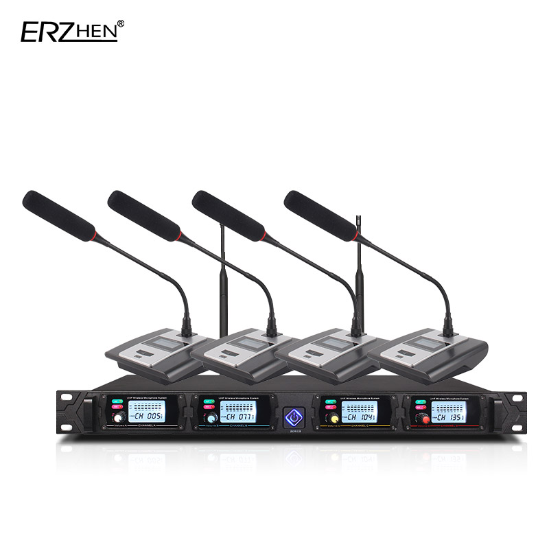 Professional Microphone System 8000GT UHF Channel Professional Dynamic Microphone 4 Conference Microphone Gooseneck Microphone цена 2017