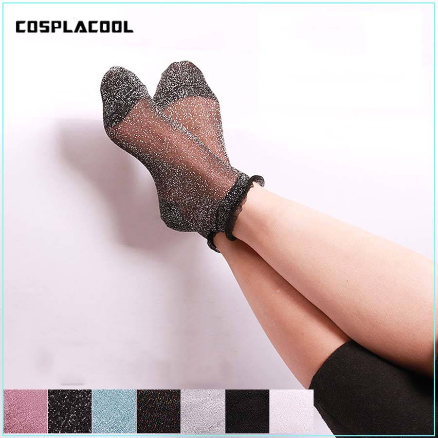 1 Pair Women Ultrathin Transparent Colorful Glitter Crystal Silk Lace Sox Shiny Harajuku Soft Ladies Funny   Socks   Elastic Hosiery