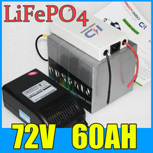 72V 60AH LiFePO4 Battery Pack ,4000W Electric bicycle Scooter lithium battery + BMS Charger , Free Shipping