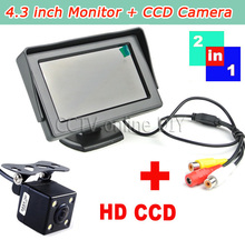 LED Night Vision Reversing CCD Car Rear View Backup Camera with 4.3 Rearview Monitor