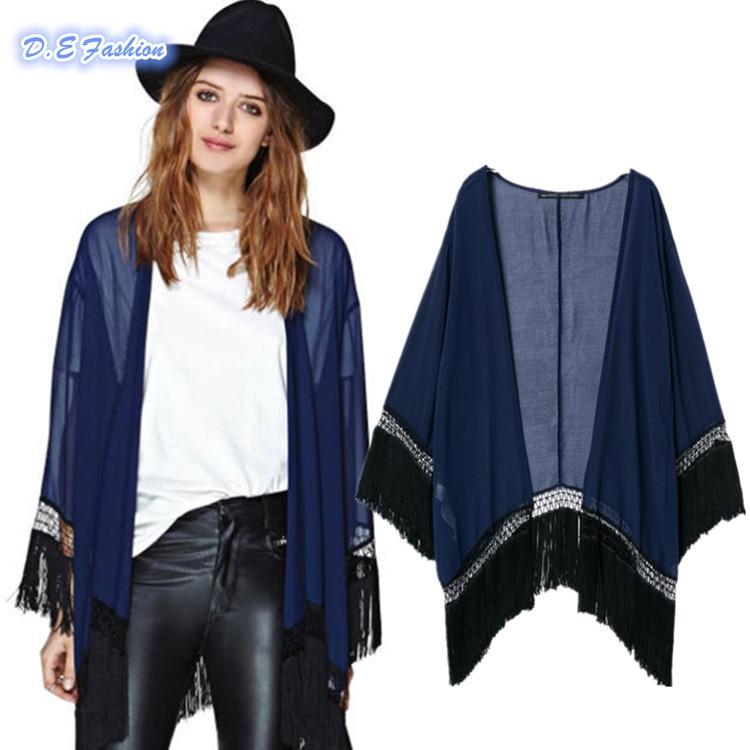 High Quality 2015 Vintage Women Navy Blue Loose Sheer Kimono ...