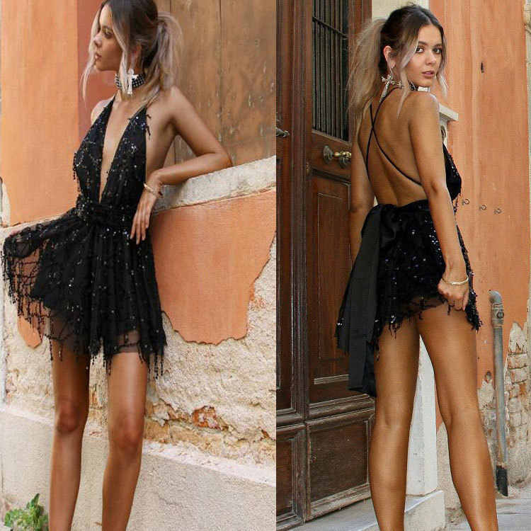 Sıcak Pullu sırtı açık dar elbise Bodycon Kadınlar Seksi Gece Kulübü Parti Mini Elbise Siyah Bandaj Derin V Boyun Elbiseler Vestidos