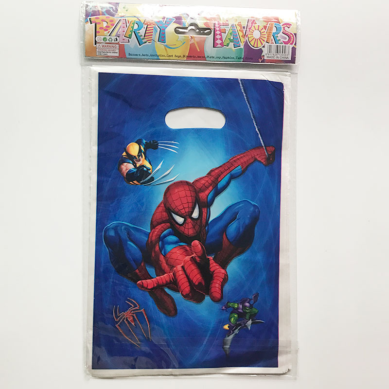 10pcs Spiderman Birthday Party Decorations Kids Gift Bag Pokemon Supplies Avengers Sofia Favors 25x16