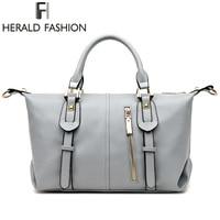 Herald Thời Trang PU Leather Boston Phụ Nữ Túi Xách Shoulder Bag Rắn Dây Kéo Phụ Nữ Gối Nữ Túi bolsos sac một chính