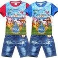 Розничные новые 2016 летние POLI ROBOCAR детские мальчиков комплектов одежды, Детские дети рубашки джинсовые шорты брюки 100% хлопка комплект одежды