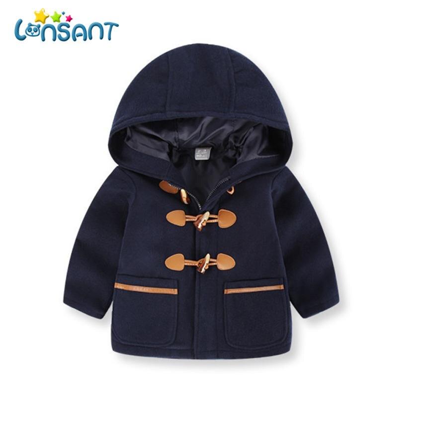 LONSANT пальто для маленьких мальчиков и девочек на молнии с капюшоном одежда для малышей, Топы одноцветное Детские зимние куртки теплая одежд...