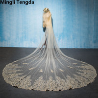 Mingli Tengda 3.5 M Long Champagne Lace Bridal Veils Tiara Superb Fairy Wedding Veil Cover Face Two Layers Cathedral with Comb