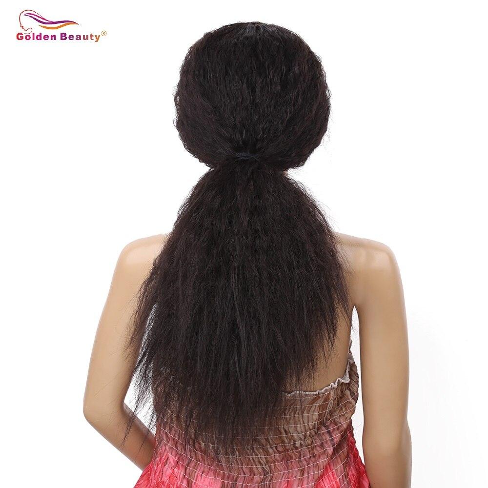 Golden Beauty 24inch Lång Kinky Straight Hair Side Part Lace Front - Syntetiskt hår - Foto 3