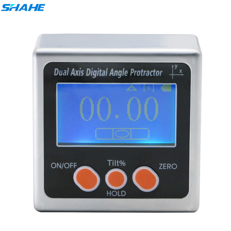 SHAHE Metal Dual axis Digital Angle Gauge Level Protractor Angle Finder Bevel Gauge Inclinometer with Backlight