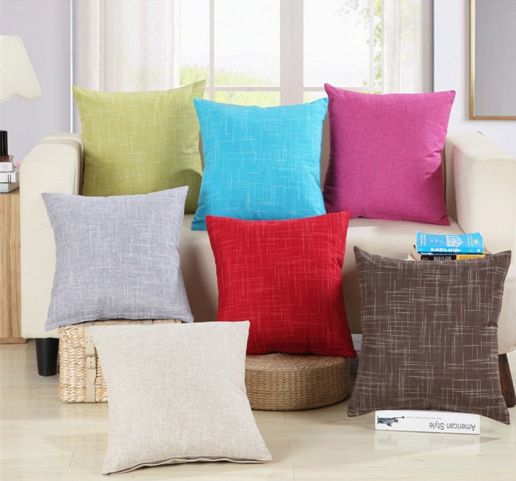 New Pure Colorful Cotton Linen Sofa Cushion 45x45cm/17.7x17.7'' Embrace Throw Pillow Home Decorative Seat Cushion Home Textile