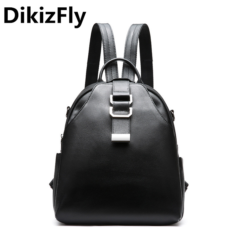 DikizFly Genuine Leather Backpacks Women backpack Real Leather school backpacks for Student Travel bags casual large capacity