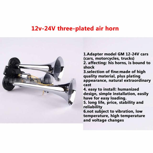 Universal 12-24 V tres-plateado bocina de aire efecto impactante motocicletas, coches, camiones, autobuses trumper 110 BD buena calidad de sonido agradable