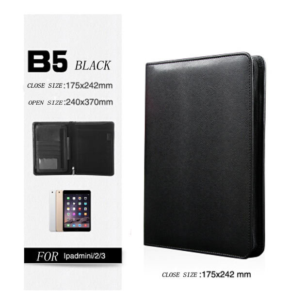 ФОТО black & white pu leather cover  planner 175*240MM B5 size business manager folder  bag with zip lock