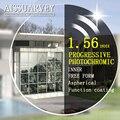 1.56 свободной форме прогрессивные фотохромные линзы по рецепту линзы внутренняя opticos очки широкий видение защиты серый бифокальные