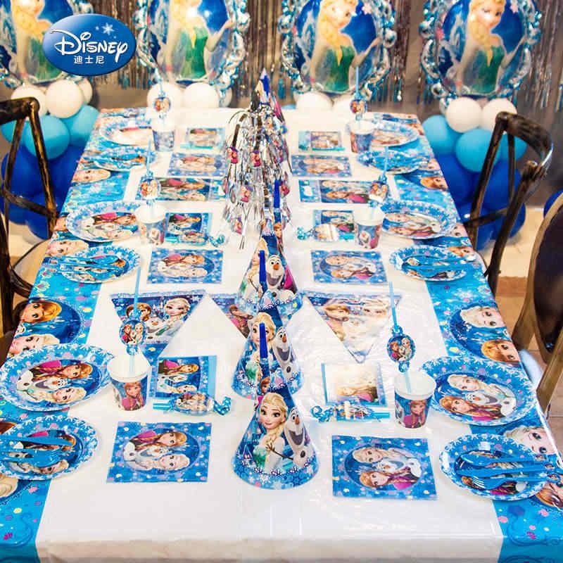 Disney Frozen Thema Prinses Anna Elsa Wegwerp Tafelkleed Cup Plaat Family Party Baby Shower Verjaardagsfeestje Decoratie Supply