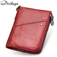 Dicihaya New Double Zipper Women Wallets Genuine Leather Womens Wallets and Purses Coin Purse Female Small Portomonee Rfid Walet