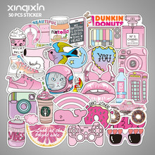 50 Pieces of Pink Girl Art Stick Box Stickers Cute Waterproof Personality Guitar Skateboard Graffiti Car