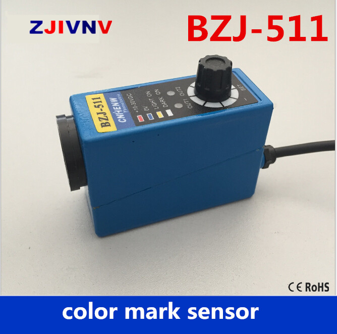 High quality Packing Machine infrared sensor color mark Sensors optical Switch BZJ-511 2m cable color mark sensor photoelectric switch for packing machine bzj 313