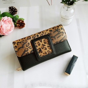 Image 2 - AFKOMST Leopard Women Wallet Long Luxury Solid Coin Purse Credit Card Holder High Quality Clutch Money Bag Walle VKP1524