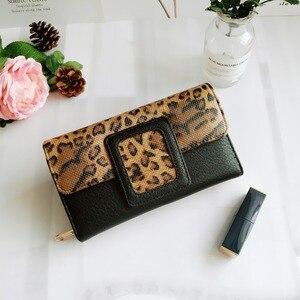 Image 2 - AFKOMST ヒョウの女性の財布ロング高級固体コイン財布クレジットカードホルダー高品質クラッチマネーバッグウォル VKP1524