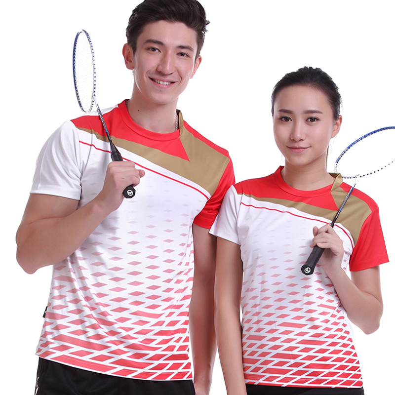 2017 Sportswear Quick Dry Breathable Badminton Shirt,Women/Men Table Tennis White Clothes Team Game Short Sleeve O Neck T Shirts white sleeve pocket design side slit crew neck men s t shirt