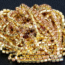 SS6,8,10,12 10m All Size Light Peach rhinestone cupchain golden setting  for Garment Accessories Jewelry shiny dense
