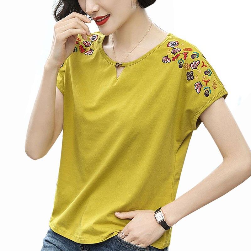 2019 летние топы с вышивкой в китайском стиле, футболки из хлопка, большие размеры 4XL, футболка с круглым вырезом, Женская свободная футболка с