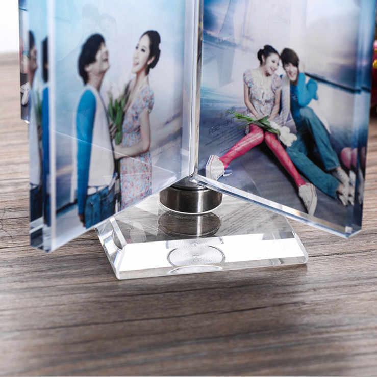 تدوير طاحونة إطار صور من الكريستال ألبوم الزجاج للصور الإطار أصدقاء غير عادية شخصية هدية عقد 4 الموافقة المسبقة عن علم مخصص
