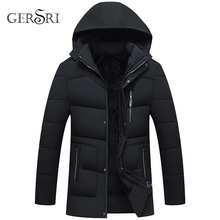 Gersri Thickening Hooded Winter Parkas men Warm Fleece With Fur Parka Men Jacket middle aged Long
