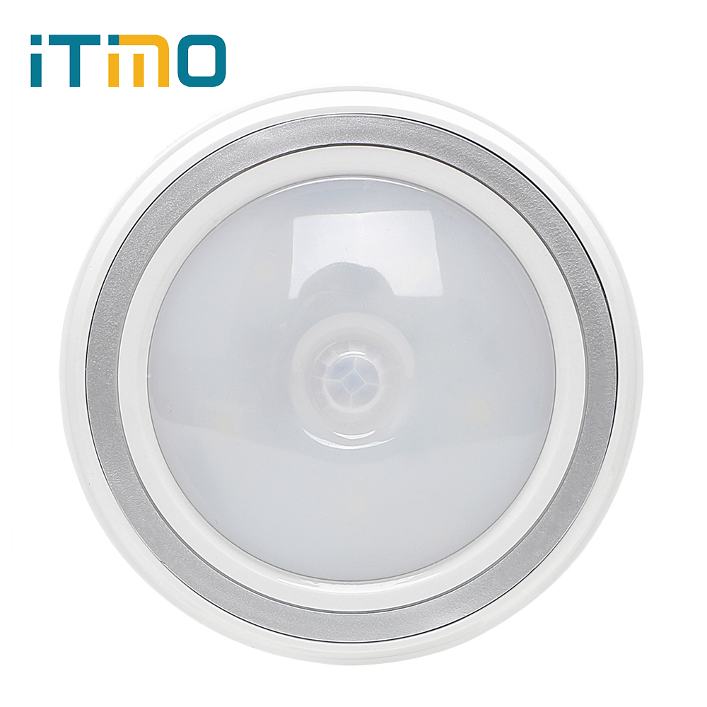 ITimo LED Night Light PIR Infrared Motion Sensor 6 Leds For Bedroom Hallway Closet Battery Operated Auto On/Off Round Wall Lamp