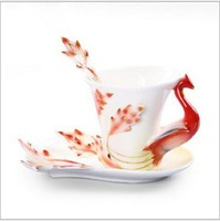 Enamel porcelain dragon and Phoenix wholesale ceramic coffee cup and saucer Creative Cup Gift Set Wedding Gift Wedding