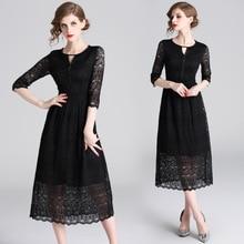 Women's New Spring Round Neck Lace Dress Black Hollow Out Long Dress стоимость