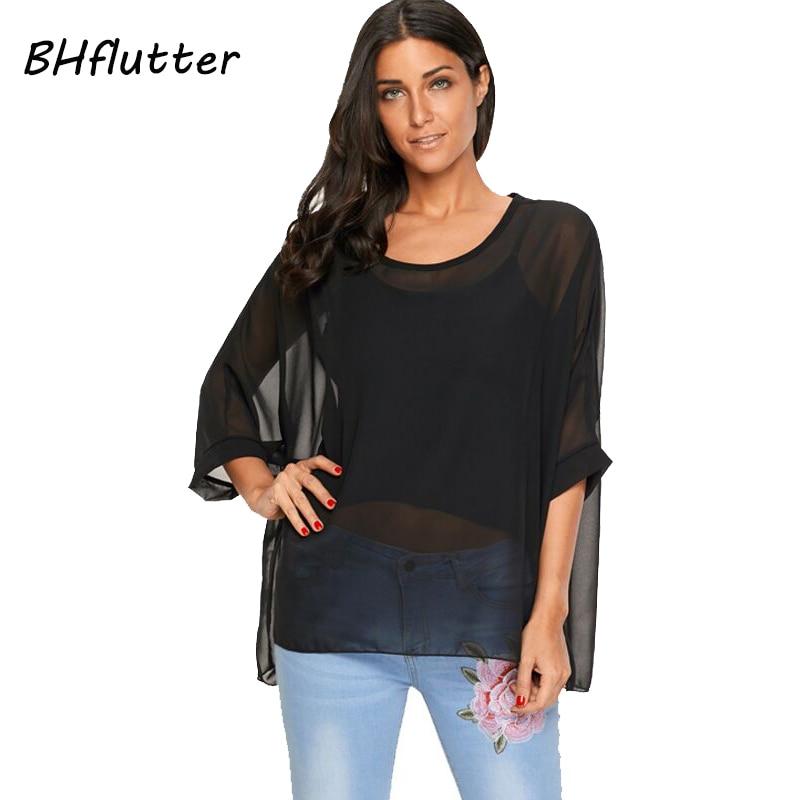 BHflutter Women Tops 2018 New Style Batwing Sleeve Casual Summer Blouse Shirt O Neck Women Chiffon Blouses Plus Size 4XL 5XL 6XL
