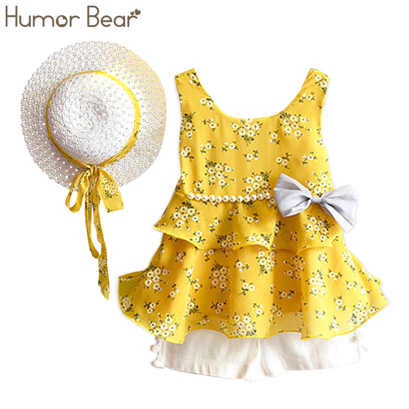 Humor Bear Girls Clothes Sets 2018 Summer Children Clothes Coat+Shorts+Hat kids Clothing 3PCS Suit humor bear girls clothes girls sets summer set 2018 kids clothes girls clothing sets two piece kids suit children clothing
