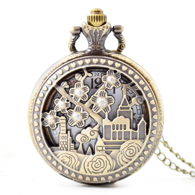 Vintage Retro Hollow Train Quartz Pocket Watch Women Men Necklace Pendant with Chain Birthday Gift