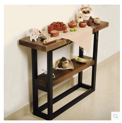 vintage table de console de bois tv meuble foyer bois. Black Bedroom Furniture Sets. Home Design Ideas