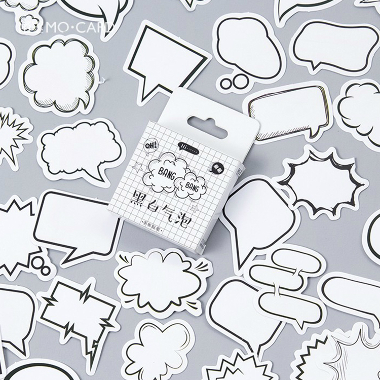 45Pcs/box Simple Write-on Sticker Scrapbooking Cartoon Black/white Bubble DIY Decorative Adhesive Labels Stickers Sticky Notes