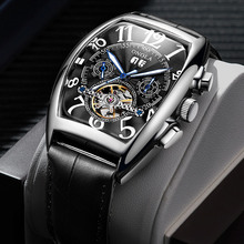 цены Tourbillon Men Automatic Watch Leather Sport Watch Waterproof Military Mechanical Wristwatch Male Day Date Clock