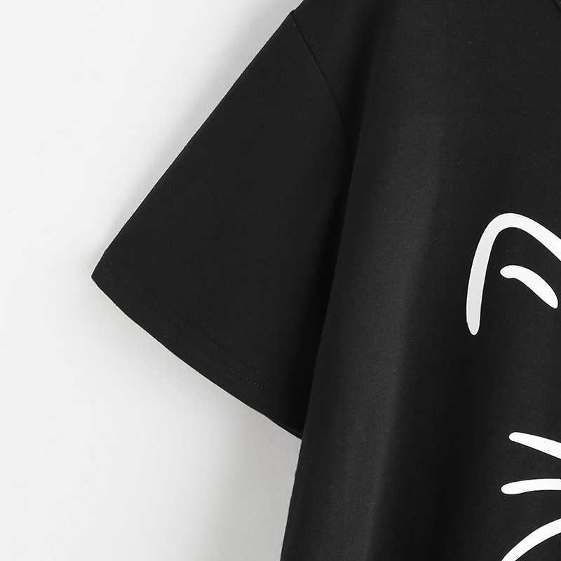 Bông tai kẹp Áo THUN Nữ Tay Ngắn Nữ ngộ nghĩnh Áo Khoác Mèo Đáng Yêu In Hình Mặt Mèo Chữ In Áo Thun Femme đá Hàng Đầu