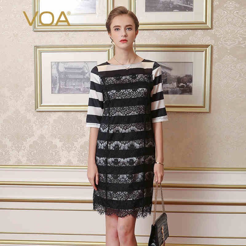 Voa 2017 Summer Silk Lace Women Dress Fashion Classic Black And