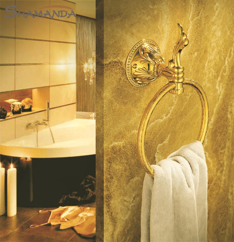 Free Shipping Zinc&Brass Titanium Golden Finished Towel Ring,Bathroom Accessories Products Gold Towel Holder,Towel Rack-66007G free shipping brass & stone golden towel rack gold towel bar towel holder cy008s