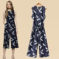 Women Wide Leg Capris Jumpsuit Cranes Printed Sleeveless Summer Jumpsuits New 2017 O-Neck Free Shipping