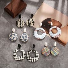 2019 Top Fashion Rushed Zinc Alloy Pendientes Aros Simple For Creative Coloured Woven Round Stud Earrings Statement Earring