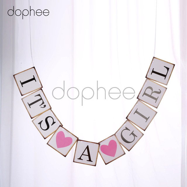 Dophee 1pc Baby Shower Banner Letter Hanging Rustic Chic Party Decoration Bunting