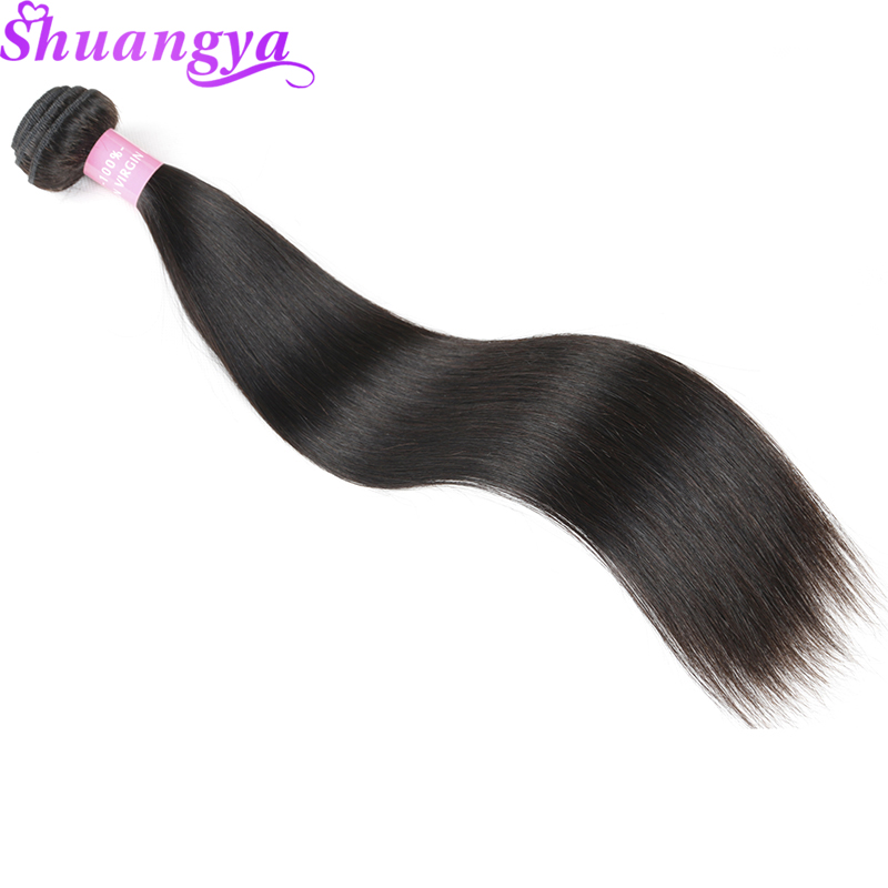 "Brazilian Straight Hair Weave Bundle 1/3 eller 4 Human Hair Bundles Natural Color 8 ""-28"" Hårforlængelser Shuangya Remy Human Hair"
