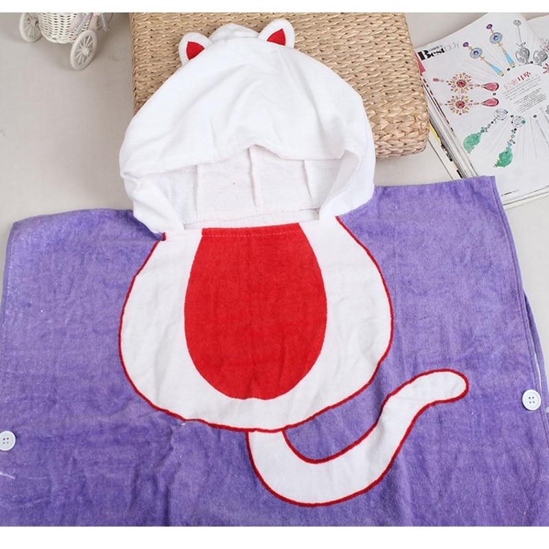 Pure Cotton Baby Bathrobe Children Cartoon With Hooded Purple Cat Towels Super Soft Blanket for Newborn Infants
