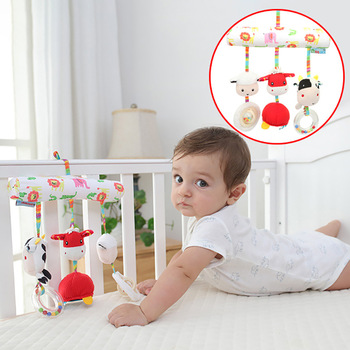 baby Crib Rattles Plush Toys Soft cute animal Rattles Pram Rattle Toys Hanging Rattle For Stroller Newborn Bed Pendant Bell Toy adorable baby rattles plush crib stroller infant baby pram striped cute rattle hanging rabbit bear animal toy