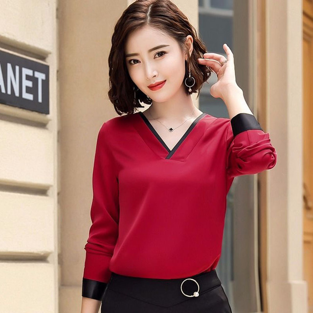 Women Chiffon Blouses V-Neck Zipper OL Long Sleeves Loose Shirt Blouse Blusa Feminina elegant solid color Plus Size DD2353 1
