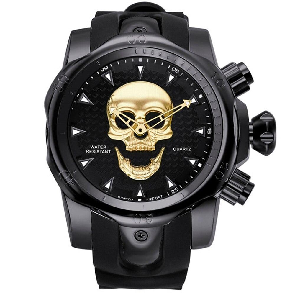 3bdf35a1cb2 2019 Men s Skull Quartz Watch Men Skeleton Creative Watches Rubber Male  Clock Water Resistant Wristwatches Relogio